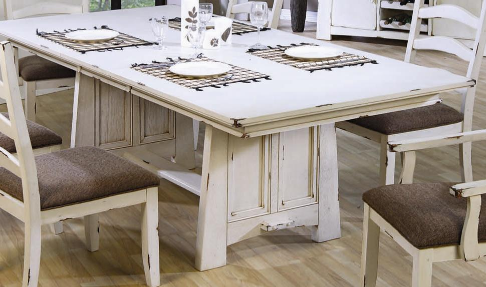 Dining table diy distressed dining table for Distressed white dining table
